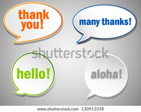 Thank you and hello bubbles - stock vector