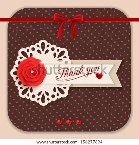 Thank you background with red paper flower and scrapbook elements. Modern handmade / paper craft design. This vector illustration can be also used as greeting card or wedding invitation.