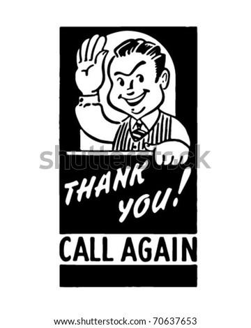Thank You Call Again - Retro Ad Art Banner - stock vector