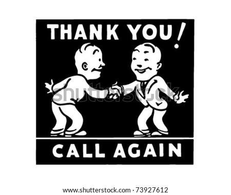 Thank You Call Again 3 - Retro Ad Art Banner - stock vector
