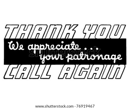 Thank You Call Again 4 - Retro Ad Art Banner - stock vector