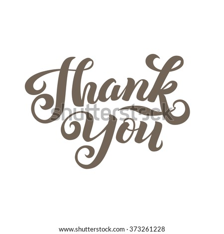 Thank You Calligraphic Card. Grey Letters White Background - stock vector