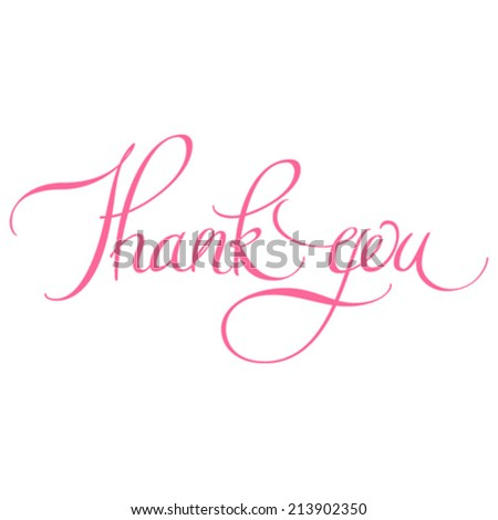 Thank you calligraphic hand lettering