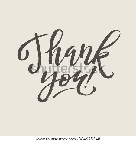 Thank You Card Calligraphic Inscription. Hand Lettering - stock vector