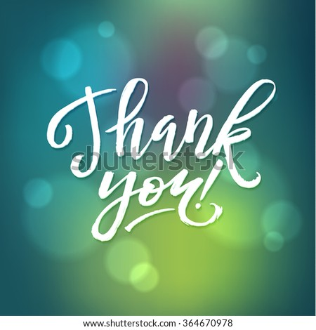 Thank You Card Calligraphic Inscription. Hand Lettering and Gradients. - stock vector