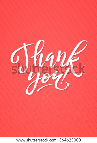 Thank You Card Calligraphic Inscription. Hand Lettering on Pink Textured Background. - stock vector