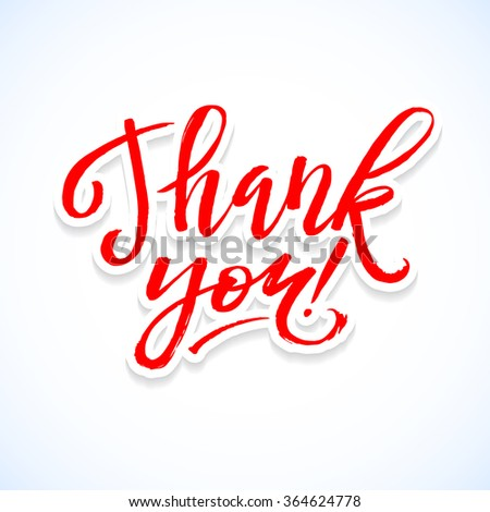 Thank You Card Calligraphic Inscription. Hand Lettering on White Paper Background. - stock vector