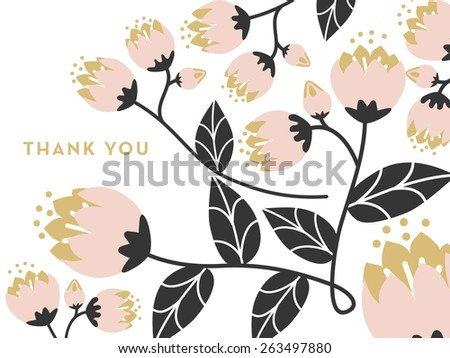 Thank you card decorated with flowers on a branch and leaves on white background. Can be used as a thank you note after your wedding or birthday. Vector and illustration design. - stock vector