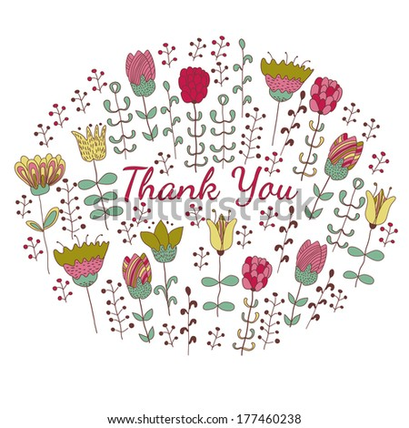Thank you card design, hand drawn cute flowers - stock vector