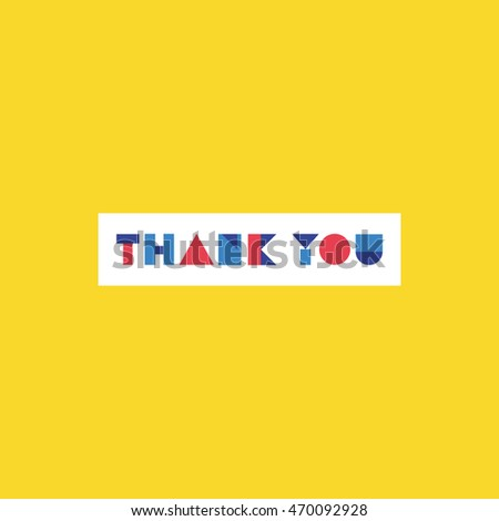 Thank you card design. Poster. Vector illustration.