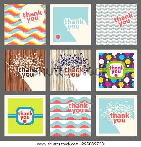 Thank you card design template set. Retro style  - stock vector
