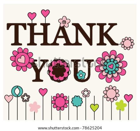 Thank you card floral designs - stock vector