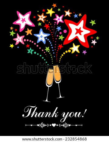 Thank you card. Glasses with champagne against fireworks. Celebration black background with Two Glasses of champagne, firework and place for your text. Vector Illustration  - stock vector