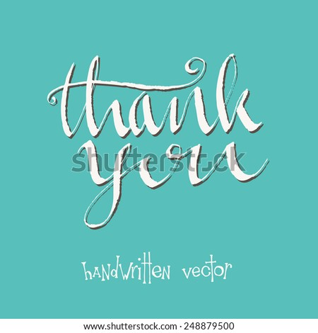 thank you card. hand drawn alligraphy - stock vector