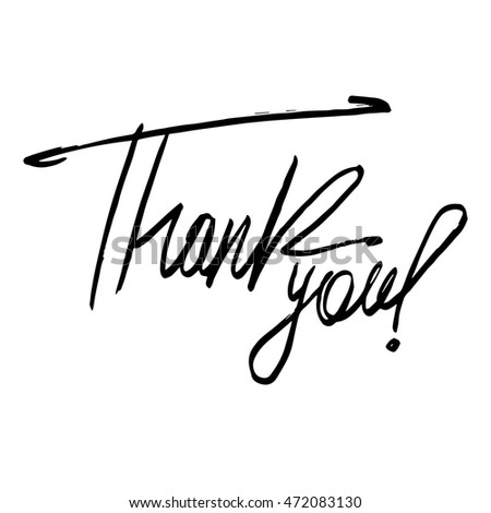Thank you card. Hand drawn lettering. Vector illustration.
