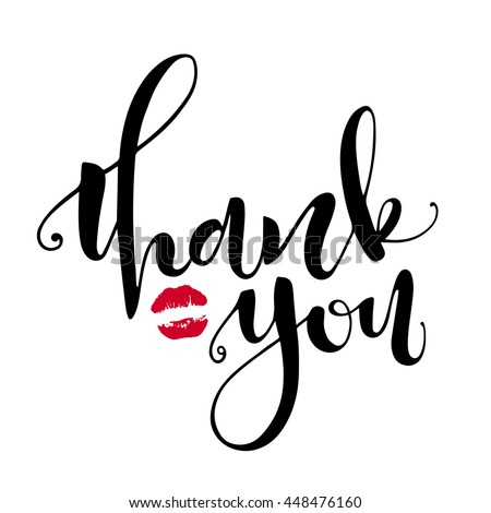 Thank you card. Hand drawn lettering with lipstick kiss on background, handmade vector calligraphy, isolated on white. Hand drawn design elements - stock vector