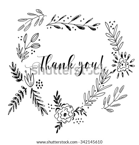 Thank you card, lettering text.Summer pattern. Vector floral set. Graphic collection with leaves and flowers, drawing elements. Spring or summer design for invitation, wedding or greeting cards - stock vector