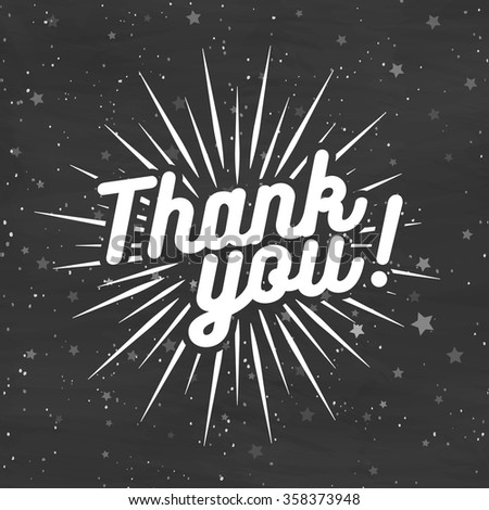 Thank you card on black background with stars  - stock vector