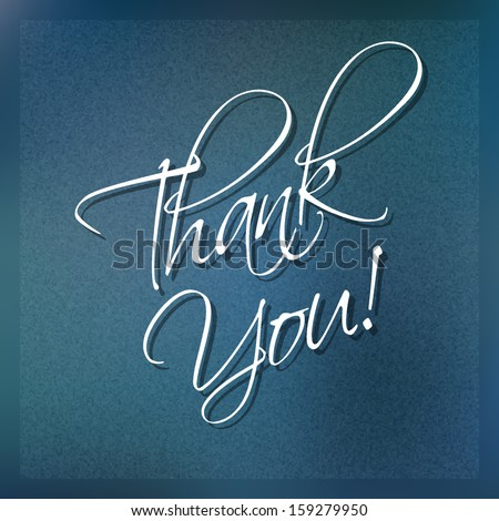 Thank you card on blue Background, vector design.  - stock vector