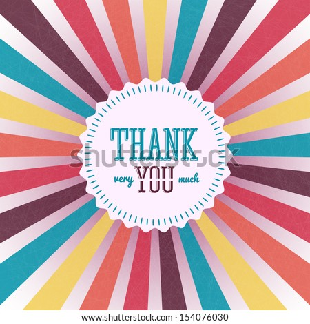 Thank you card on colorful grunge background. Gratitude card for different occasions. - stock vector
