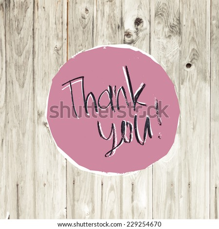 Thank You Card On Hardwood Texture. Vector - stock vector