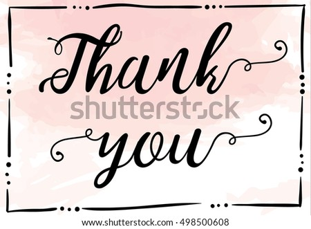 Thank you card on watercolor background