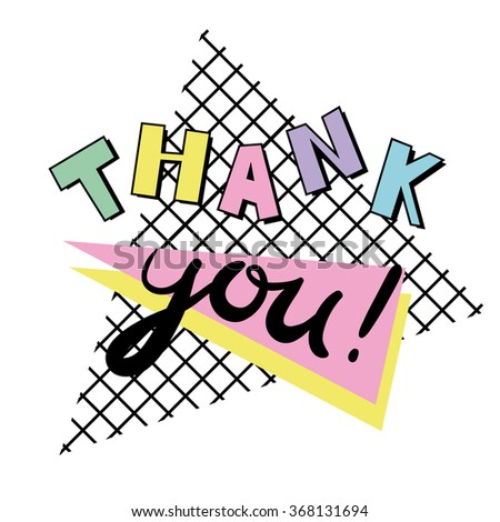 Thank you - card template in retro eighties style 3 - stock vector
