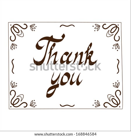 Thank you card template. Sketch vector illustration - stock vector