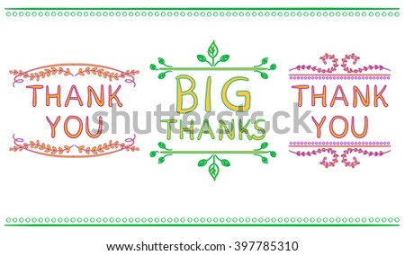 Thank You Card Templates Big Thanks Vector 400487377 – Thanks Card Words