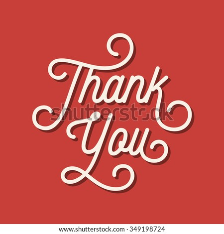 Thank you card, vector lettering, retro style. - stock vector
