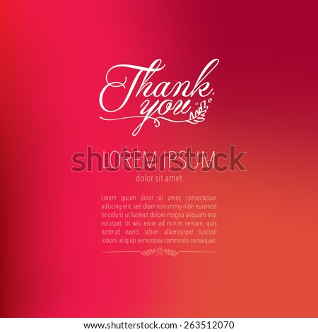 Thank you card with blurred background/Typography with hand drawn illustration/Greeting card template - stock vector