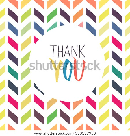 Thank you card with chevron colorful background - stock vector