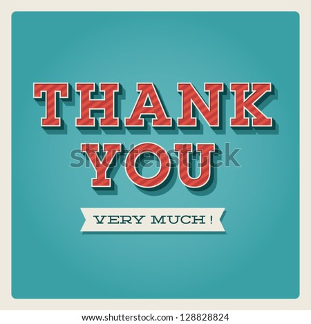 Thank you card, with font, typography and ribbon - stock vector