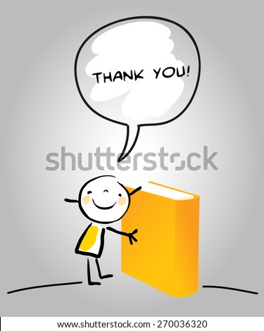 Thank you card with happy kid holding a book, saying thank you for education in a speech balloon. Cartoon sketch, doodle, vector concept illustration.  - stock vector