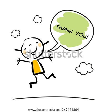 Thank you card with happy kid jumping, saying thank you in a speech balloon. Cartoon sketch, doodle, vector illustration.  - stock vector