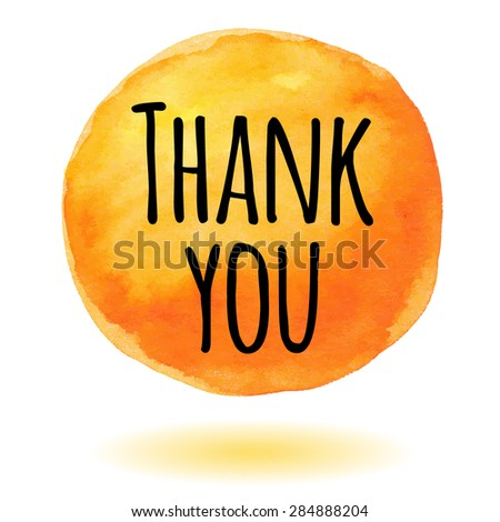 Thank you card with orange watercolor circle - stock vector