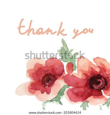 thank you card with vector flower. Anemones - stock vector