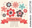Thank you card with vintage ribbon banner and retro style flowers in salmon pink and cream. Grunge layer can be turned off. See my folio for JPEG version and for this design in other colors. - stock vector