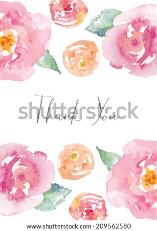 Thank You Card With Watercolor Flowers. Watercolor Thank You Note. - stock vector