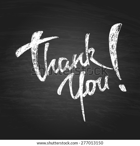 Thank You Chalk Hand Drawing Greeting Card. Vector Background - stock vector