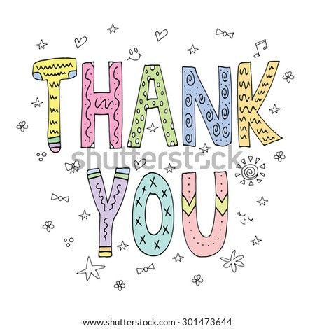 Thank you / Cheerful cute greeting card wallpaper poster background design / Vector illustration - stock vector