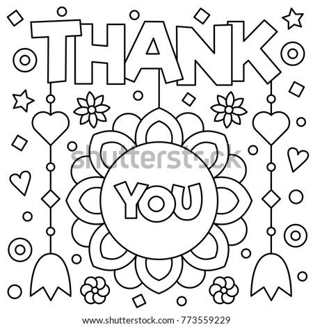 Thank You Coloring Page Vector Illustration Stock Vector 773559229 ...
