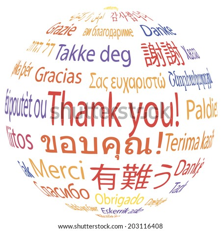 Thank you, different languages, vector illustration. - stock vector
