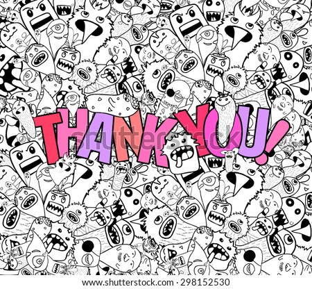 thank you doodle hipster background