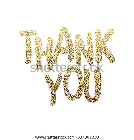 Thank you. Glittering golden surface - stock vector