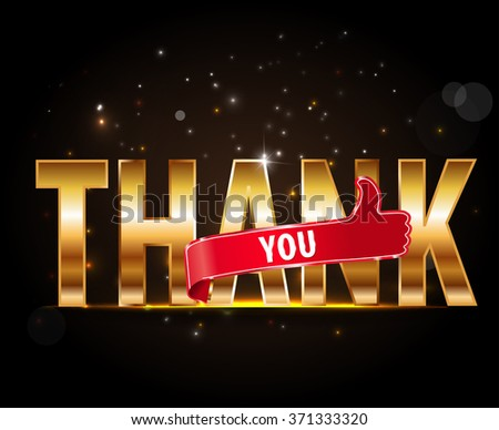 thank you, golden typography with thumbs up sign - vector eps 10 - stock vector
