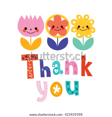 thank you greeting card - stock vector