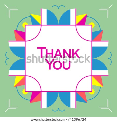 thank you card colorful vector stock vector 264133451 shutterstock. Black Bedroom Furniture Sets. Home Design Ideas