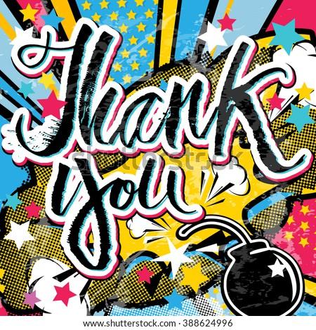 thank you grunge pop art quote stock vector 388624996 shutterstock