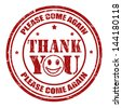 Thank you grunge rubber stamp, vector illustration - stock vector